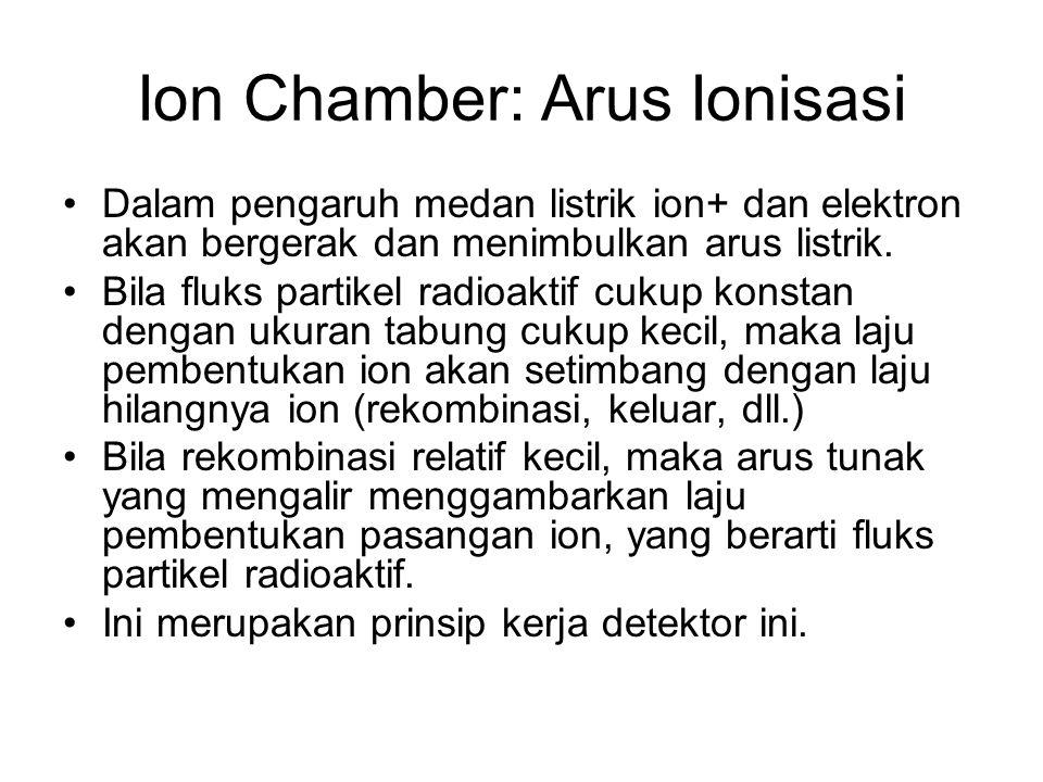 Ion Chamber: Arus Ionisasi Dalam pengaruh medan listrik ion+ dan elektron akan bergerak dan menimbulkan arus listrik. Bila fluks partikel radioaktif c