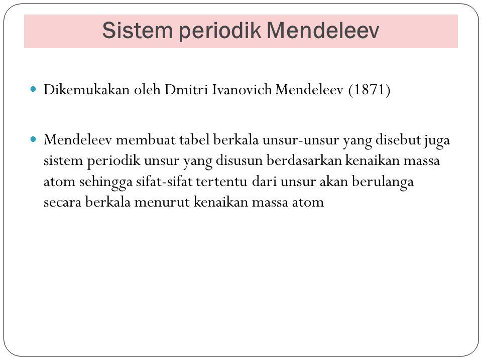 Sistem periodik Mendeleev Dikemukakan oleh Dmitri Ivanovich Mendeleev (1871) Mendeleev membuat tabel berkala unsur-unsur yang disebut juga sistem peri