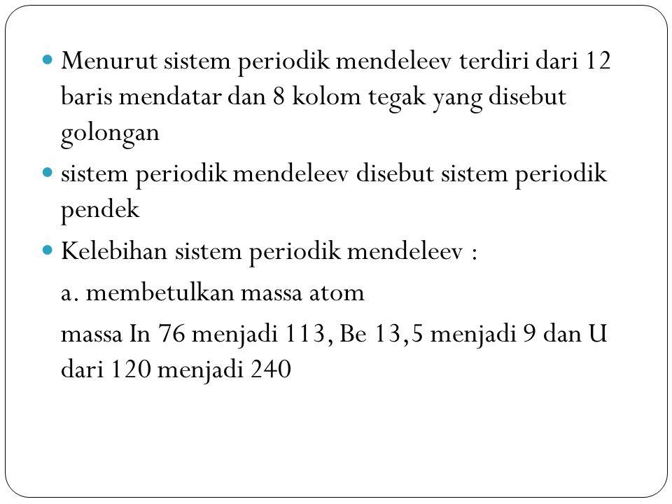 Menurut sistem periodik mendeleev terdiri dari 12 baris mendatar dan 8 kolom tegak yang disebut golongan sistem periodik mendeleev disebut sistem peri