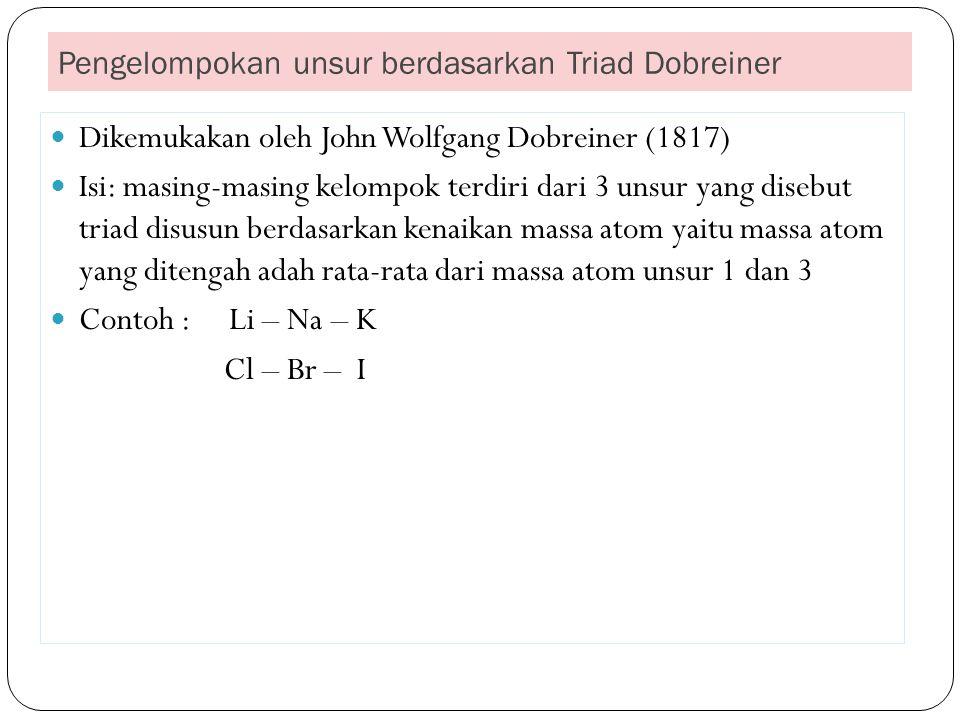 Pengelompokan unsur berdasarkan Triad Dobreiner Dikemukakan oleh John Wolfgang Dobreiner (1817) Isi: masing-masing kelompok terdiri dari 3 unsur yang