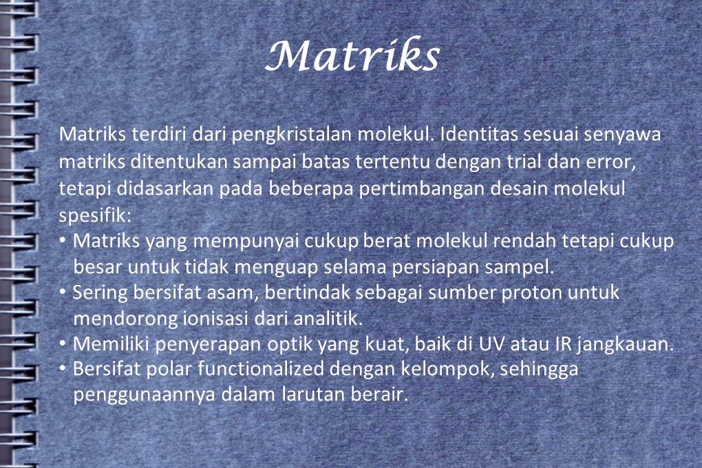 Matriks Matriks terdiri dari pengkristalan molekul. Identitas sesuai senyawa matriks ditentukan sampai batas tertentu dengan trial dan error, tetapi d