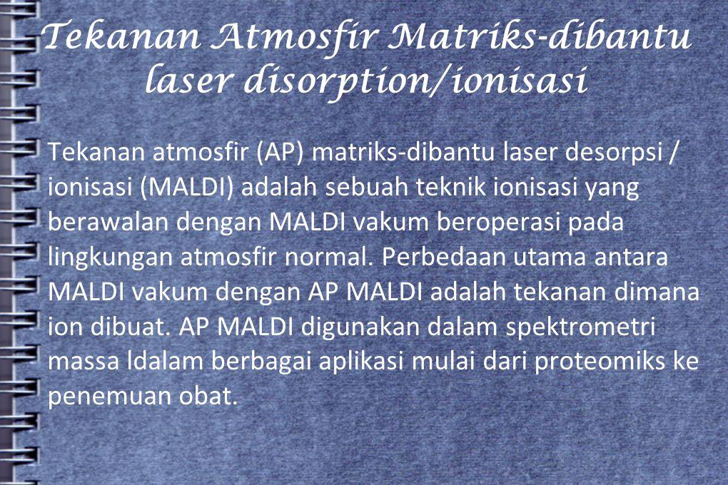 Tekanan Atmosfir Matriks-dibantu laser disorption/ionisasi Tekanan atmosfir (AP) matriks-dibantu laser desorpsi / ionisasi (MALDI) adalah sebuah tekni