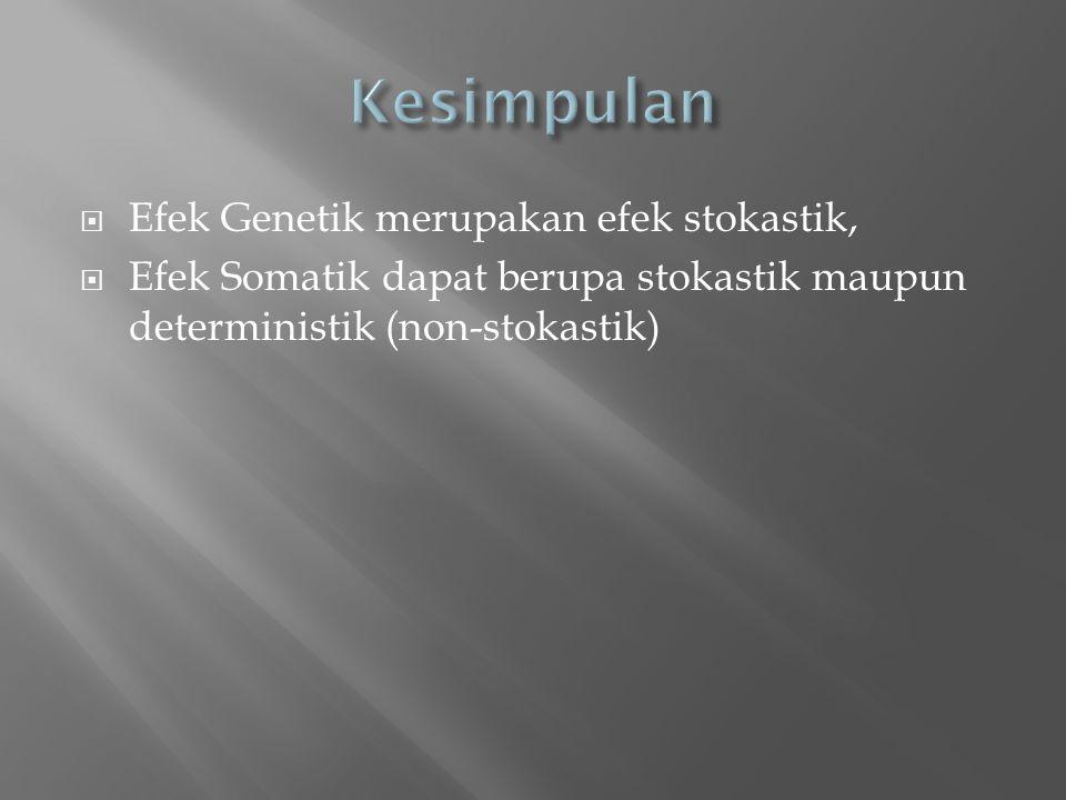  Efek Genetik merupakan efek stokastik,  Efek Somatik dapat berupa stokastik maupun deterministik (non-stokastik)