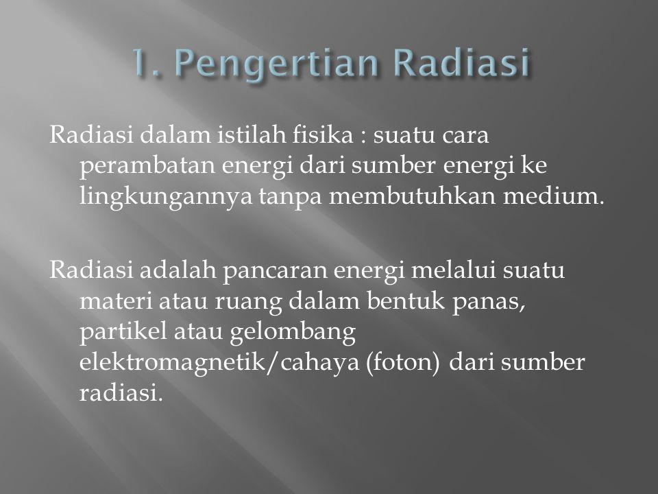 Radiasi dalam istilah fisika : suatu cara perambatan energi dari sumber energi ke lingkungannya tanpa membutuhkan medium. Radiasi adalah pancaran ener
