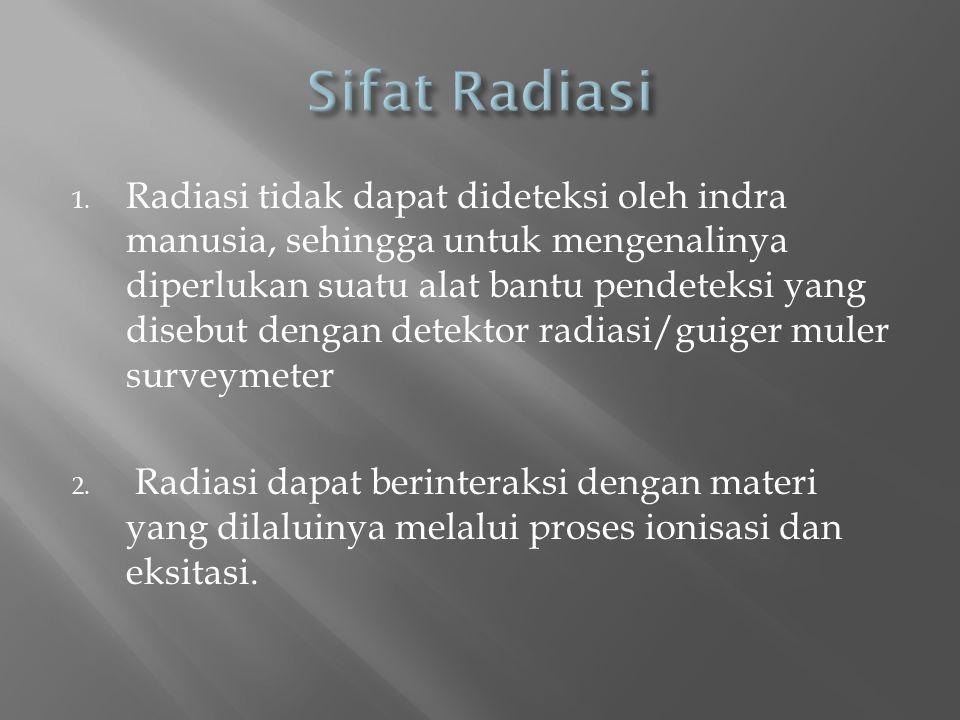 1. Radiasi tidak dapat dideteksi oleh indra manusia, sehingga untuk mengenalinya diperlukan suatu alat bantu pendeteksi yang disebut dengan detektor r