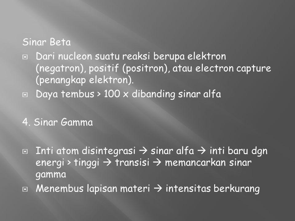 Sinar Beta  Dari nucleon suatu reaksi berupa elektron (negatron), positif (positron), atau electron capture (penangkap elektron).  Daya tembus > 100