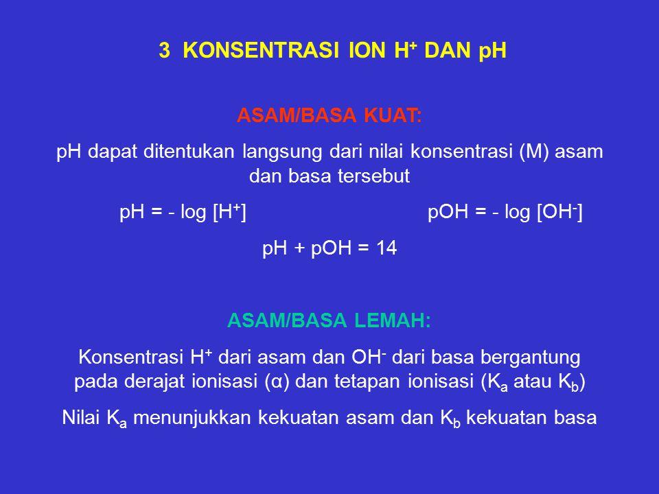 3 KONSENTRASI ION H + DAN pH ASAM/BASA KUAT: pH dapat ditentukan langsung dari nilai konsentrasi (M) asam dan basa tersebut pH = - log [H + ] pOH = - log [OH - ] pH + pOH = 14 ASAM/BASA LEMAH: Konsentrasi H + dari asam dan OH - dari basa bergantung pada derajat ionisasi (α) dan tetapan ionisasi (K a atau K b ) Nilai K a menunjukkan kekuatan asam dan K b kekuatan basa