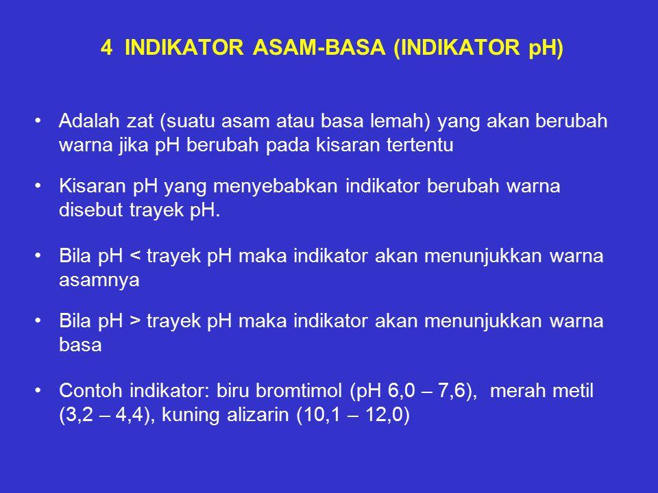4 INDIKATOR ASAM-BASA (INDIKATOR pH) Adalah zat (suatu asam atau basa lemah) yang akan berubah warna jika pH berubah pada kisaran tertentu Kisaran pH yang menyebabkan indikator berubah warna disebut trayek pH.