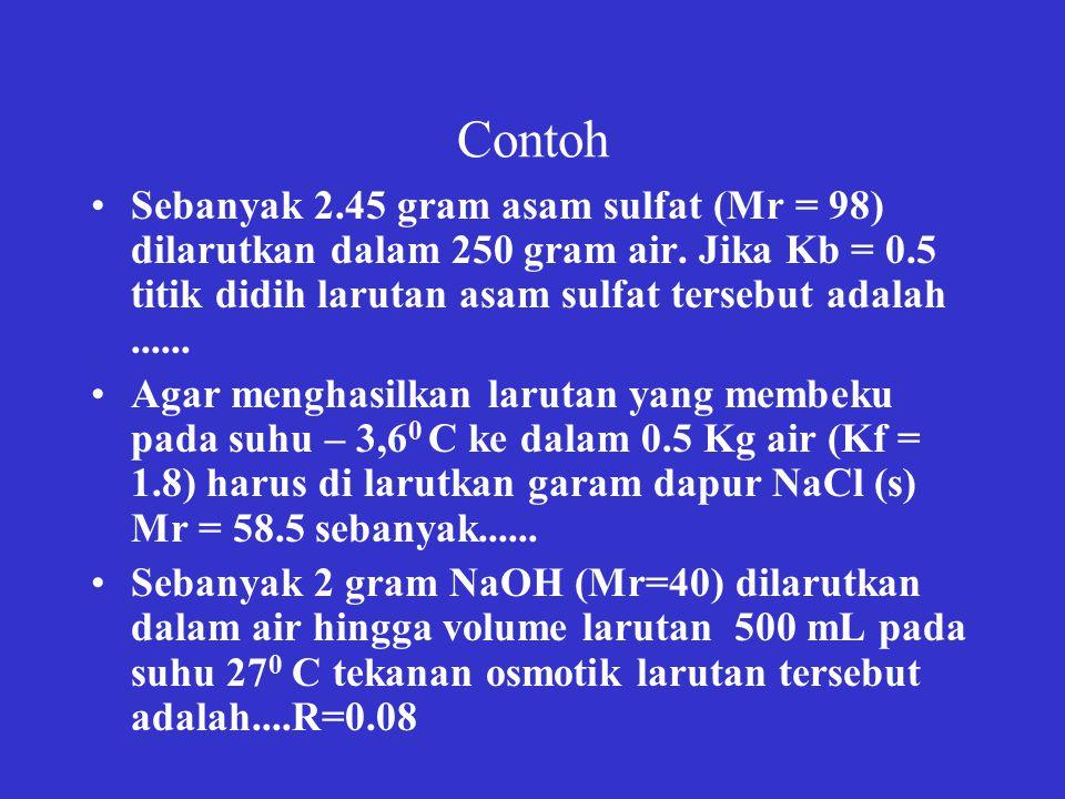 Contoh Sebanyak 2.45 gram asam sulfat (Mr = 98) dilarutkan dalam 250 gram air.