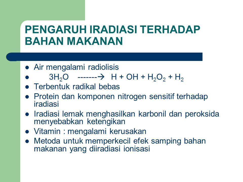 PENGARUH IRADIASI TERHADAP BAHAN MAKANAN Air mengalami radiolisis 3H 2 O -------  H + OH + H 2 O 2 + H 2 Terbentuk radikal bebas Protein dan komponen