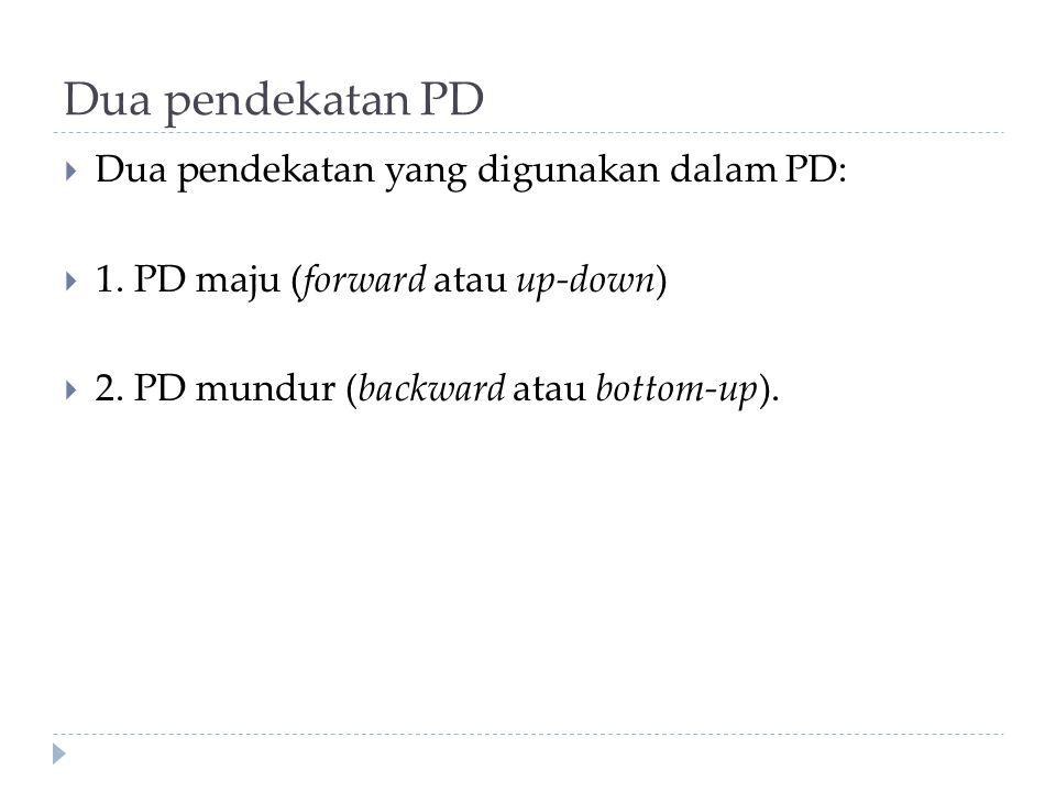 Dua pendekatan PD  Dua pendekatan yang digunakan dalam PD:  1. PD maju (forward atau up-down)  2. PD mundur (backward atau bottom-up).