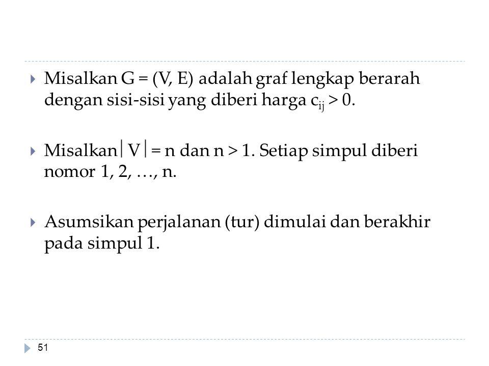 51  Misalkan G = (V, E) adalah graf lengkap berarah dengan sisi-sisi yang diberi harga c ij > 0.  Misalkan  V  = n dan n > 1. Setiap simpul diberi