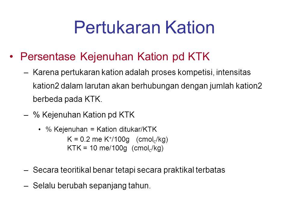 Kesimpulan Pertukaran Kation Ukuran KTK ditentukan oleh sifat2 tanah –Muatan Permanen dan bergantung pada pH Sejumlah besar unsur hara dpt diikat oleh KTK Tidak semua ion2 adalah sama...