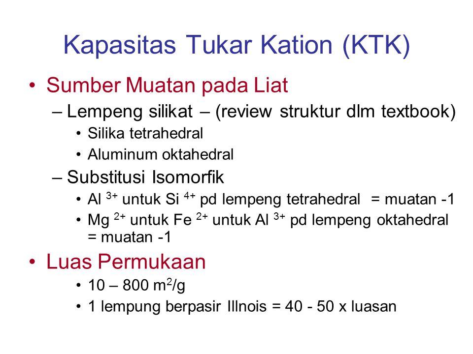 Kapasitas Tukar Kation (KTK) Sumber Muatan pada Liat –Lempeng silikat – (review struktur dlm textbook) Silika tetrahedral Aluminum oktahedral –Substit