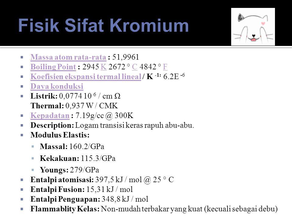  Elektrokimia Setara : 0.32333g/amp-hr Elektrokimia Setara  Kerja Elektron Fungsi : 4.5eV Kerja Elektron Fungsi  Elektronegativitas : 1,66 (Pauling