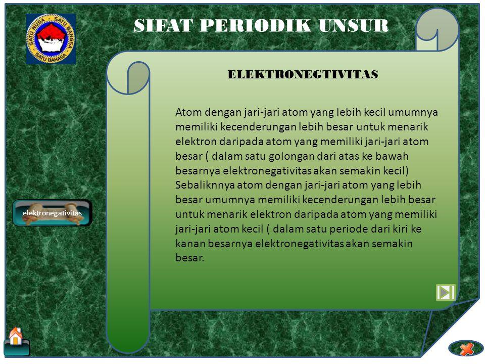 elektronegativitas SIFAT PERIODIK UNSUR ELEKTRONEGTIVITAS Elektronegativitas adalah kecenderungan suatu atom untuk menarik lektron dari atom lain untu