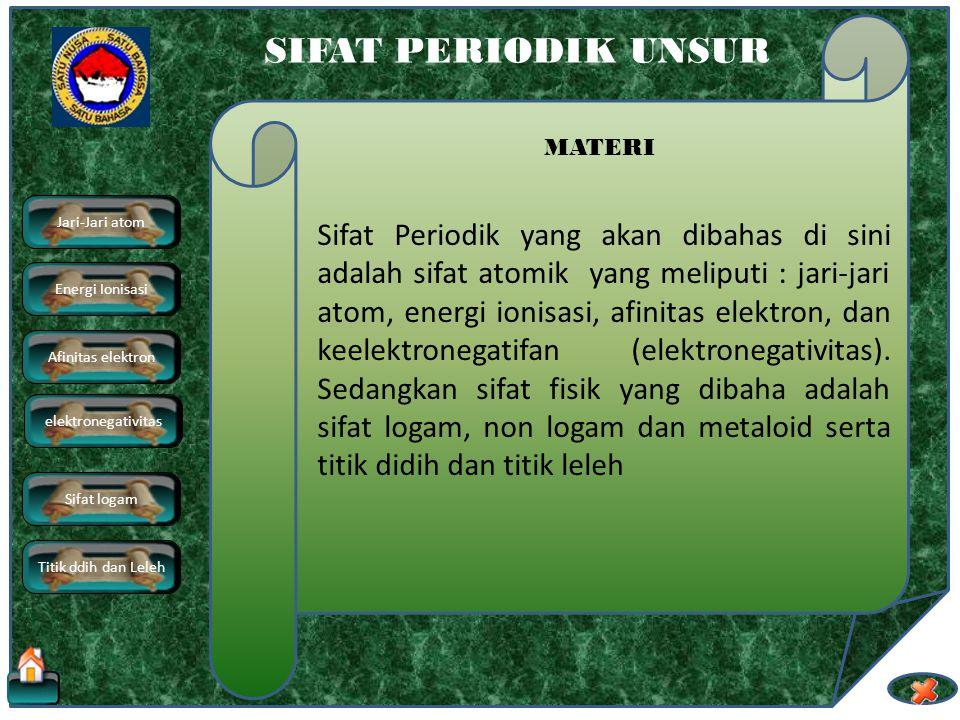 elektronegativitas SIFAT PERIODIK UNSUR MATERI Sifat Periodik yang akan dibahas di sini adalah sifat atomik yang meliputi : jari-jari atom, energi ionisasi, afinitas elektron, dan keelektronegatifan (elektronegativitas).