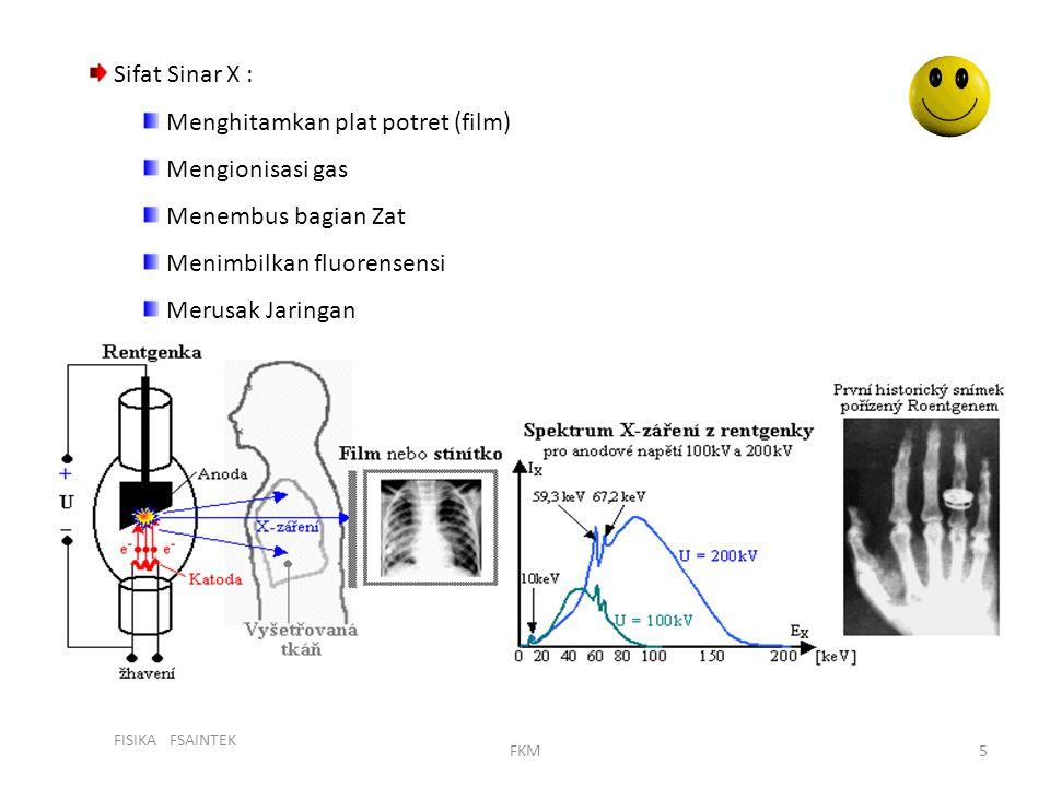 FISIKA FSAINTEK FKM5 Sifat Sinar X : Menghitamkan plat potret (film) Mengionisasi gas Menembus bagian Zat Menimbilkan fluorensensi Merusak Jaringan