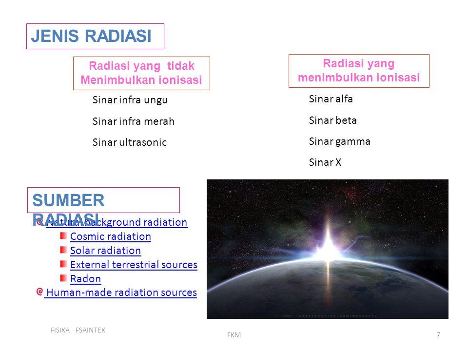 FISIKA FSAINTEK FKM7 JENIS RADIASI Radiasi yang tidak Menimbulkan ionisasi Radiasi yang menimbulkan ionisasi Sinar infra ungu Sinar infra merah Sinar