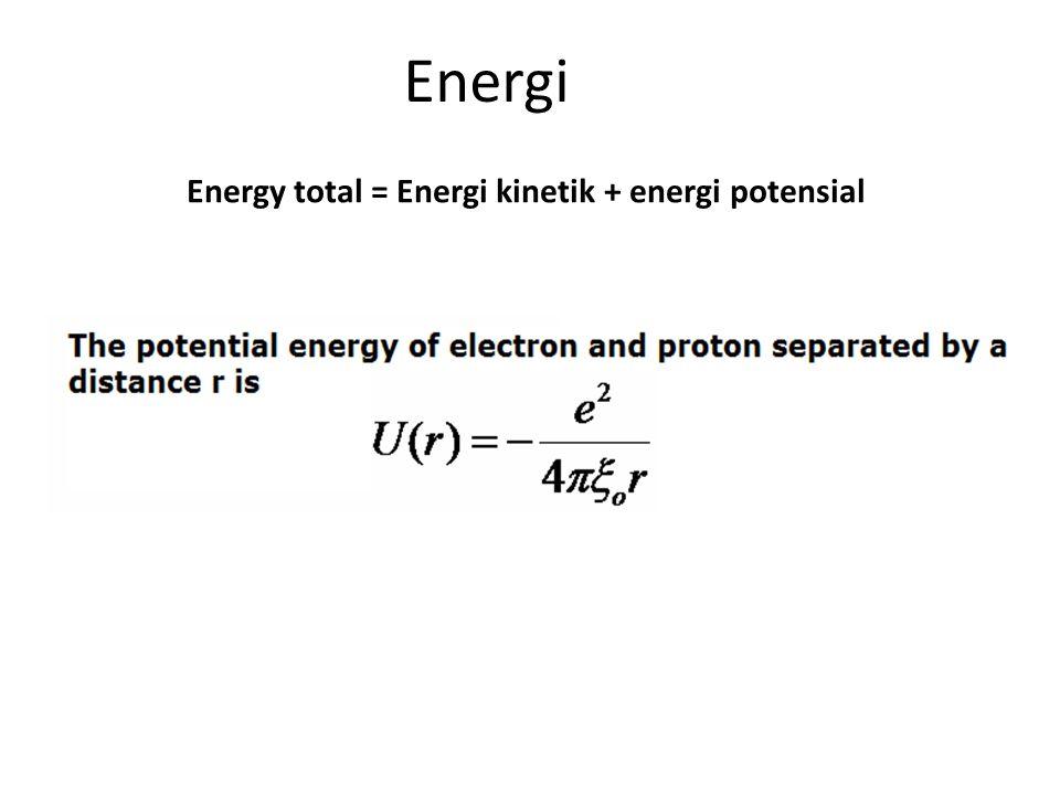 Energi Energy total = Energi kinetik + energi potensial
