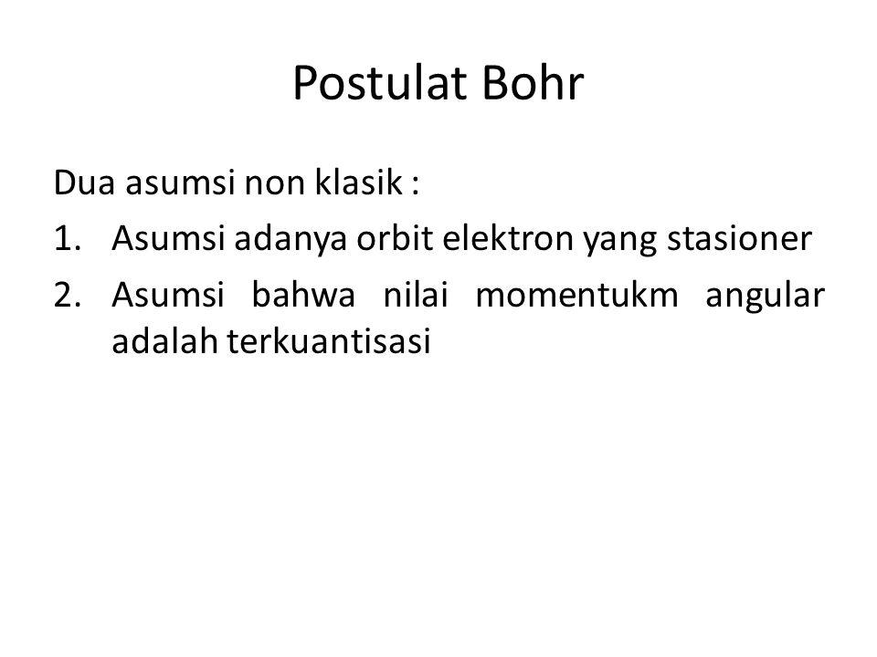 Postulat Bohr Dua asumsi non klasik : 1.Asumsi adanya orbit elektron yang stasioner 2.Asumsi bahwa nilai momentukm angular adalah terkuantisasi