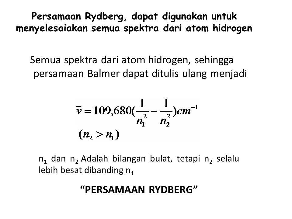 Persamaan Rydberg, dapat digunakan untuk menyelesaiakan semua spektra dari atom hidrogen Semua spektra dari atom hidrogen, sehingga persamaan Balmer dapat ditulis ulang menjadi n 1 dan n 2 Adalah bilangan bulat, tetapi n 2 selalu lebih besat dibanding n 1 PERSAMAAN RYDBERG
