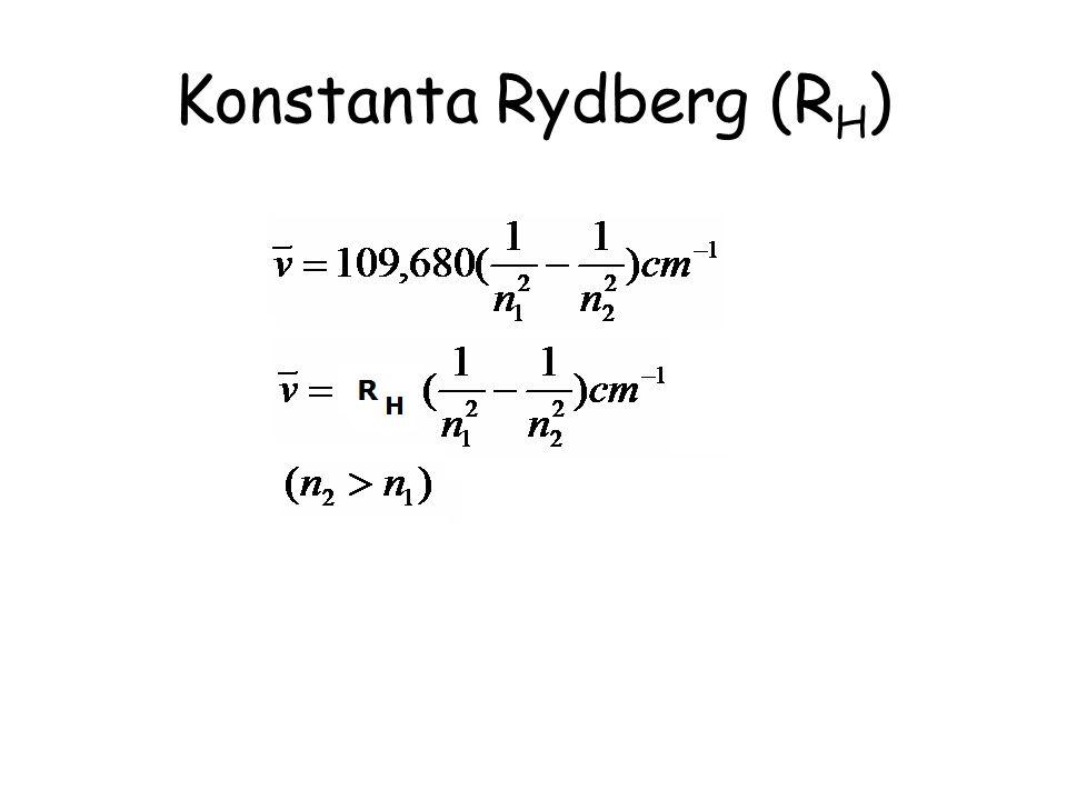Seri pertama dari spektra atom Hidrogen Namen1n1 N2N2 Gelombang Elektromagnetik Lyman12,3,4…UV Balmer23,4,5…Visible Paschen34,5,6…Near IR Bracket45,6,7…IR Pfund56,7,8…Far IR