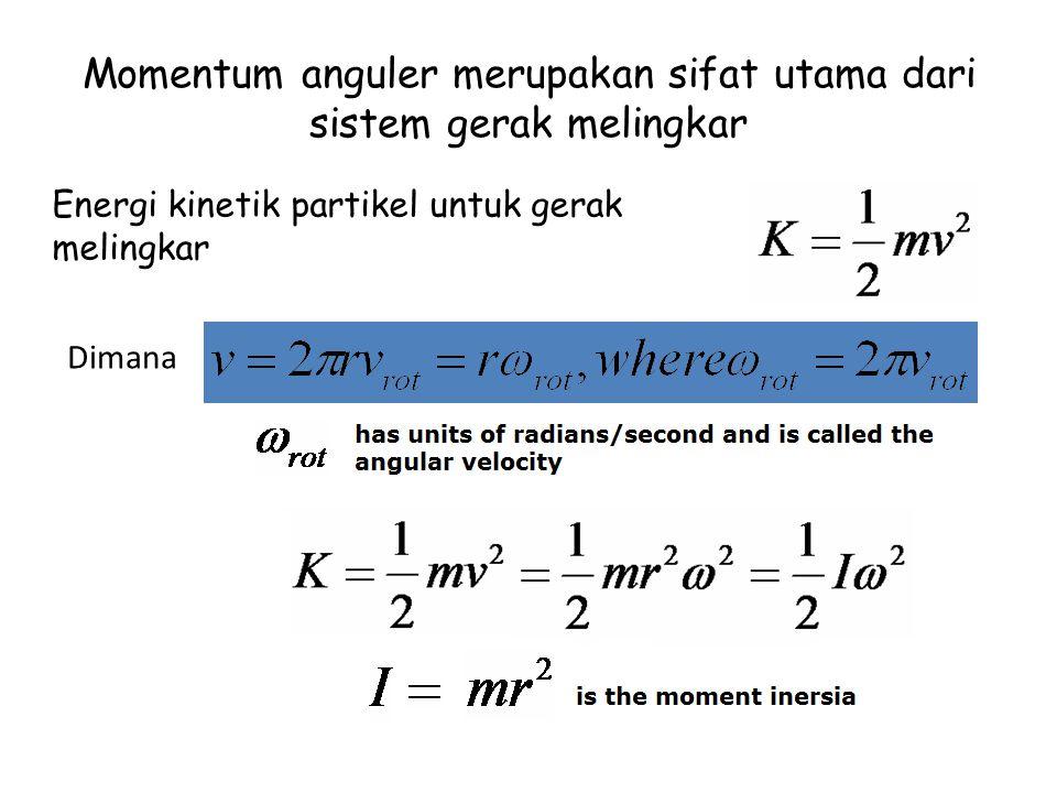 Momentum anguler merupakan sifat utama dari sistem gerak melingkar Energi kinetik partikel untuk gerak melingkar Dimana