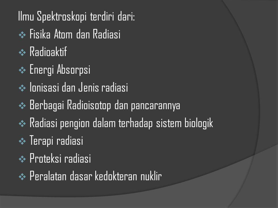 Ilmu Spektroskopi terdiri dari:  Fisika Atom dan Radiasi  Radioaktif  Energi Absorpsi  Ionisasi dan Jenis radiasi  Berbagai Radioisotop dan panca