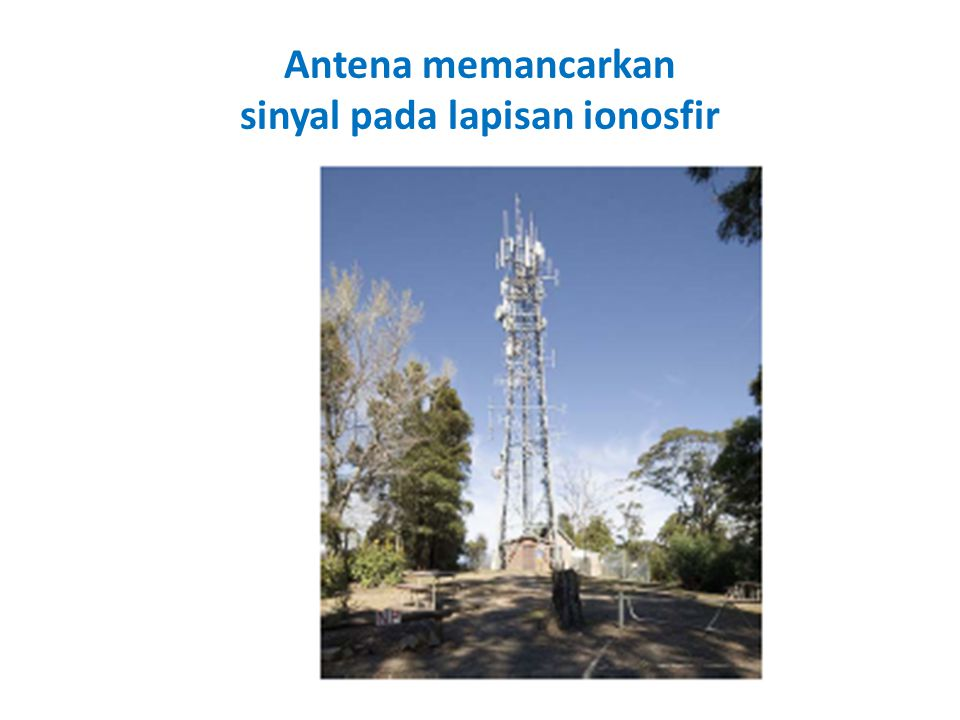 Antena memancarkan sinyal pada lapisan ionosfir