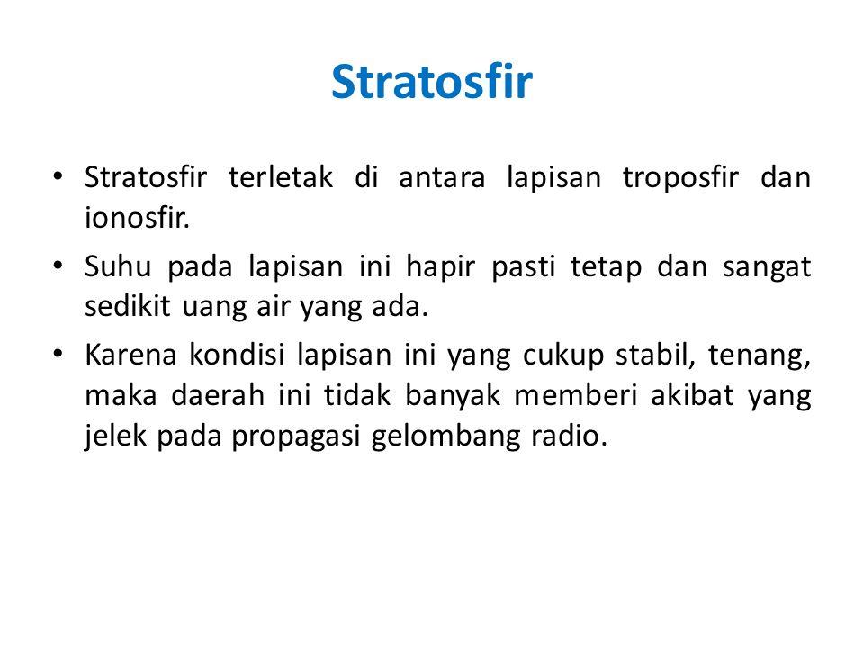 Stratosfir Stratosfir terletak di antara lapisan troposfir dan ionosfir. Suhu pada lapisan ini hapir pasti tetap dan sangat sedikit uang air yang ada.