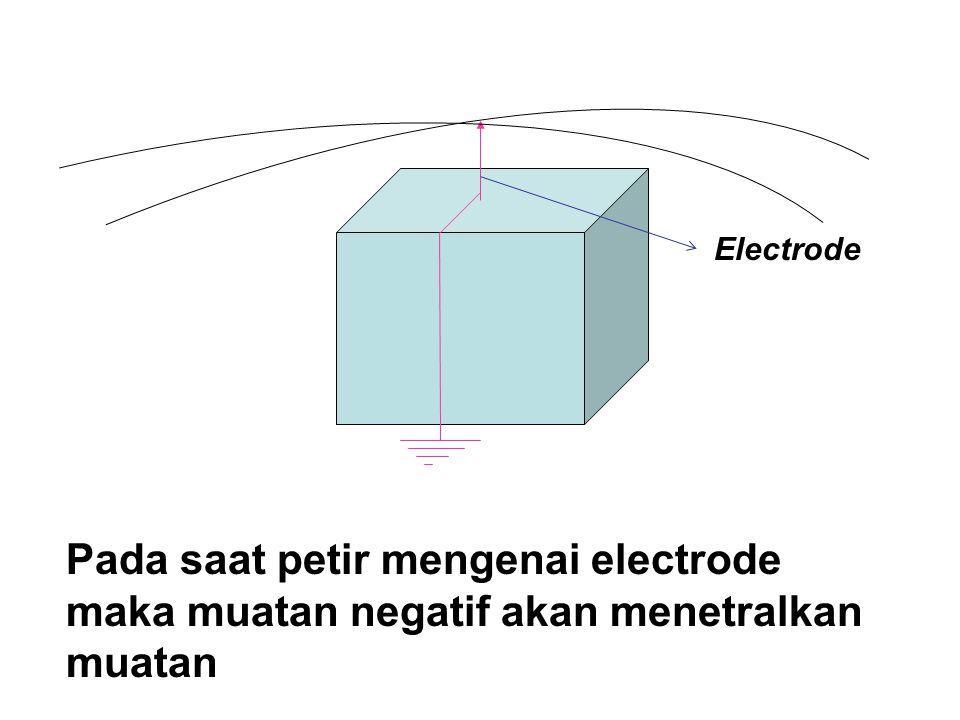 Pada saat petir mengenai electrode maka muatan negatif akan menetralkan muatan Electrode