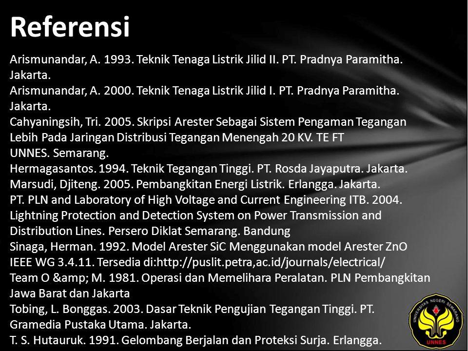 Referensi Arismunandar, A. 1993. Teknik Tenaga Listrik Jilid II.