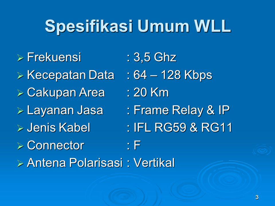 3 Spesifikasi Umum WLL  Frekuensi : 3,5 Ghz  Kecepatan Data: 64 – 128 Kbps  Cakupan Area: 20 Km  Layanan Jasa : Frame Relay & IP  Jenis Kabel : I