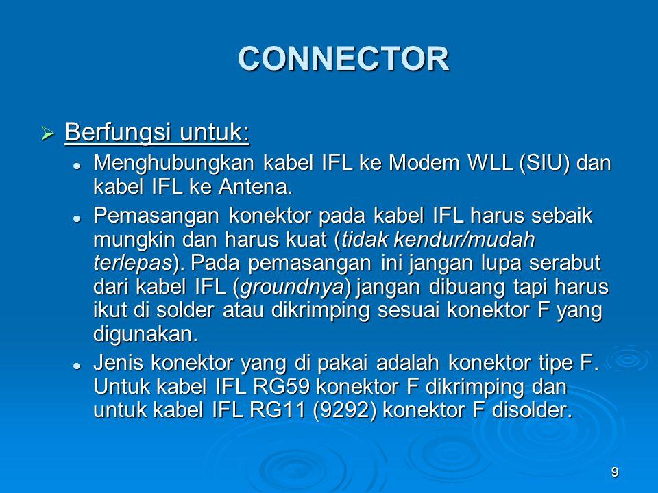 9 CONNECTOR  Berfungsi untuk: Menghubungkan kabel IFL ke Modem WLL (SIU) dan kabel IFL ke Antena. Menghubungkan kabel IFL ke Modem WLL (SIU) dan kabe