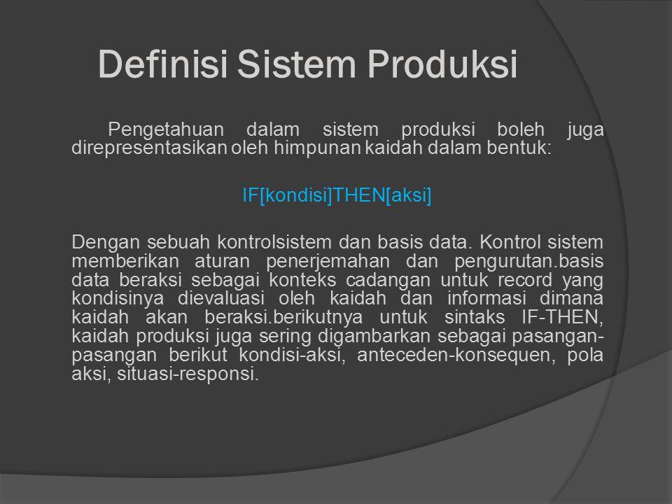 Definisi Sistem Produksi Pengetahuan dalam sistem produksi boleh juga direpresentasikan oleh himpunan kaidah dalam bentuk: IF[kondisi]THEN[aksi] Dengan sebuah kontrolsistem dan basis data.