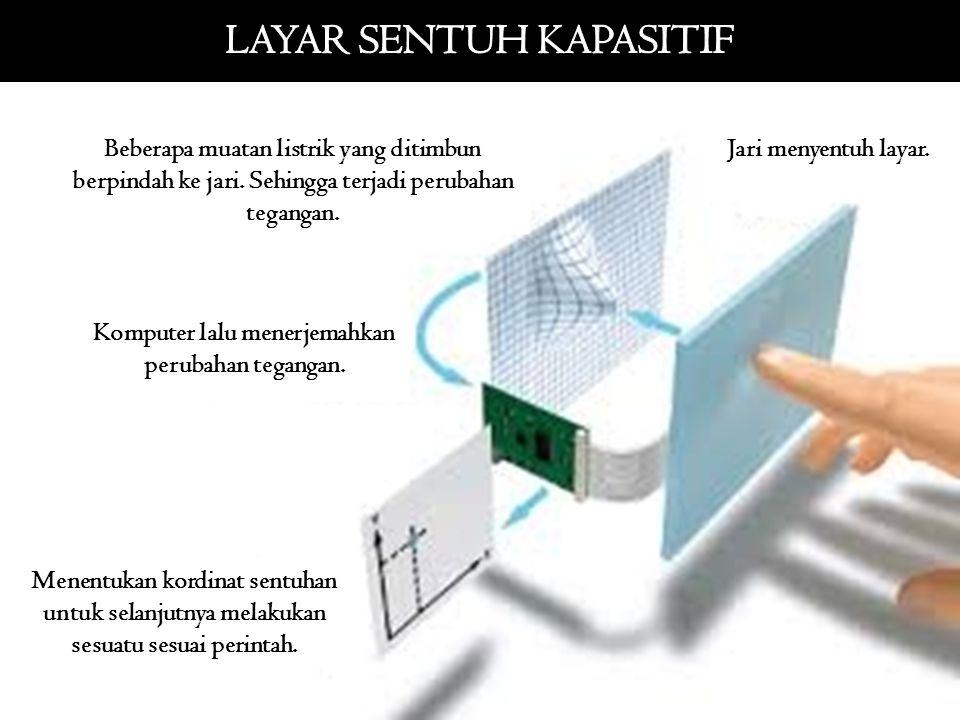 Jari menyentuh layar. Beberapa muatan listrik yang ditimbun berpindah ke jari. Sehingga terjadi perubahan tegangan. Komputer lalu menerjemahkan peruba