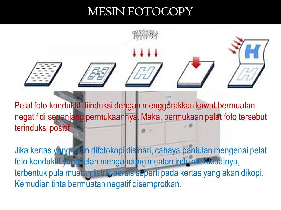 Pelat foto konduktif diinduksi dengan menggerakkan kawat bermuatan negatif di sepanjang permukaannya. Maka, permukaan pelat foto tersebut terinduksi p