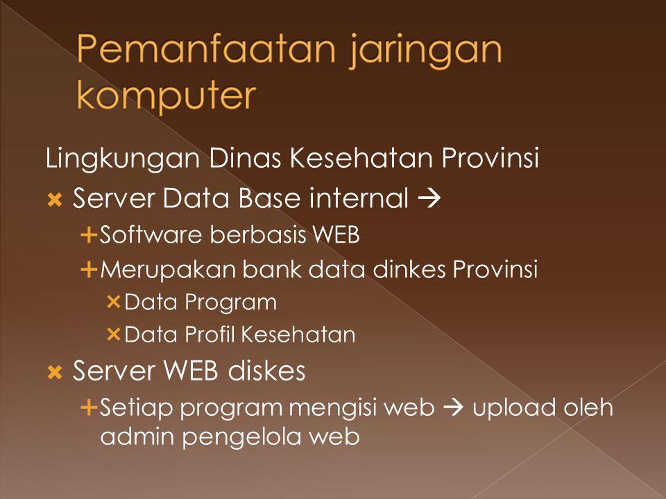 Lingkungan Dinas Kesehatan Provinsi  Server Data Base internal   Software berbasis WEB  Merupakan bank data dinkes Provinsi  Data Program  Data