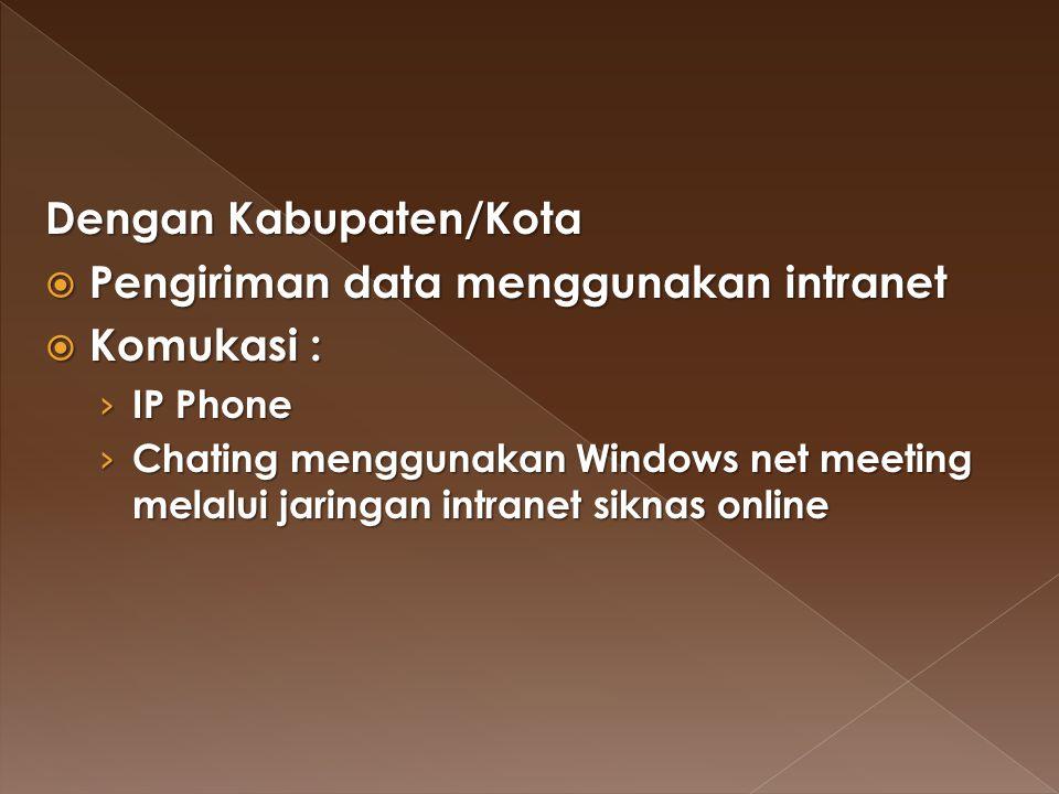 Dengan Kabupaten/Kota  Pengiriman data menggunakan intranet  Komukasi : › IP Phone › Chating menggunakan Windows net meeting melalui jaringan intran