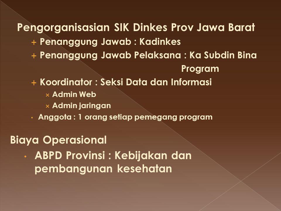 Pengorganisasian SIK Dinkes Prov Jawa Barat  Penanggung Jawab : Kadinkes  Penanggung Jawab Pelaksana : Ka Subdin Bina Program  Koordinator : Seksi