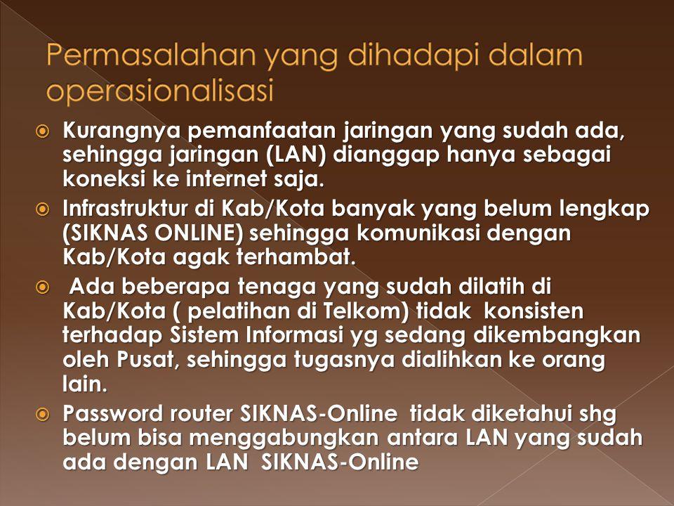  Kurangnya pemanfaatan jaringan yang sudah ada, sehingga jaringan (LAN) dianggap hanya sebagai koneksi ke internet saja.  Infrastruktur di Kab/Kota