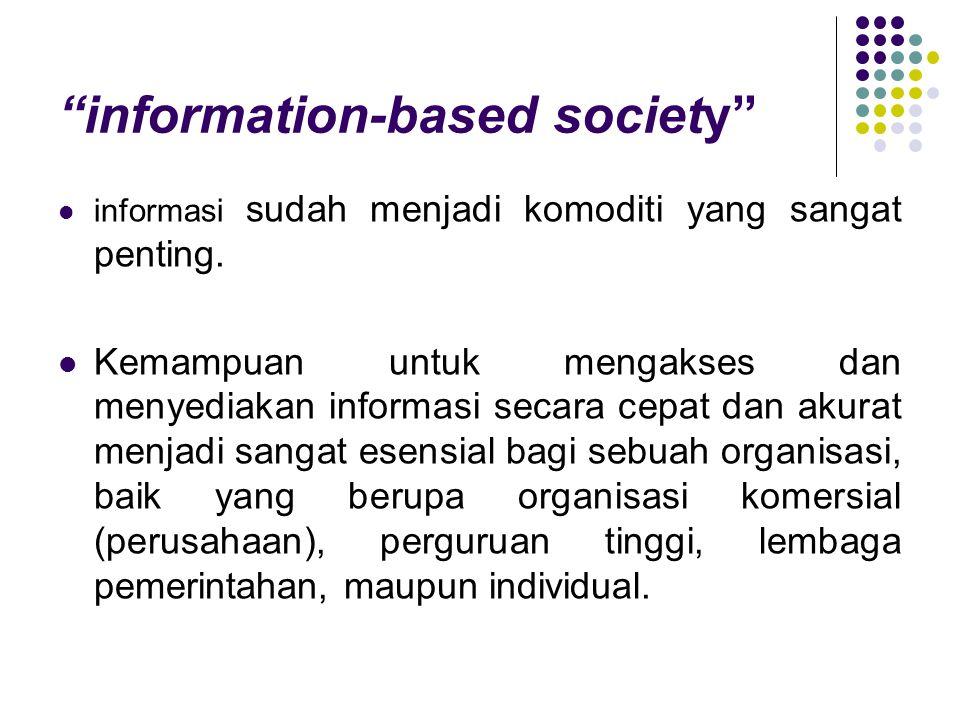 """""""information-based society"""" informasi sudah menjadi komoditi yang sangat penting. Kemampuan untuk mengakses dan menyediakan informasi secara cepat dan"""