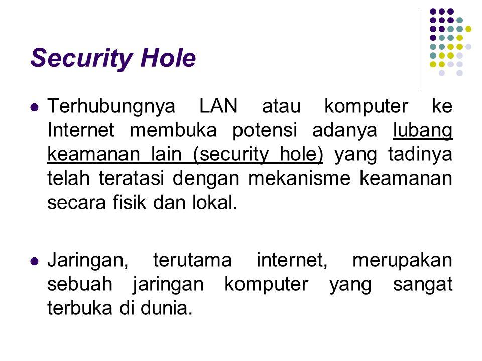 Security Hole Terhubungnya LAN atau komputer ke Internet membuka potensi adanya lubang keamanan lain (security hole) yang tadinya telah teratasi denga