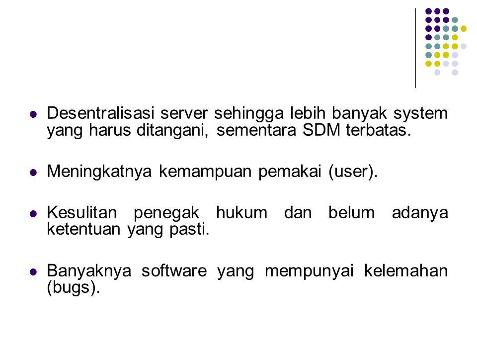 Desentralisasi server sehingga lebih banyak system yang harus ditangani, sementara SDM terbatas. Meningkatnya kemampuan pemakai (user). Kesulitan pene