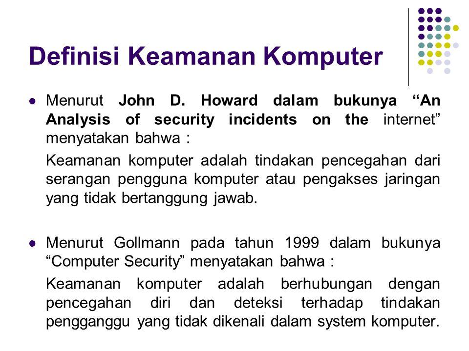 """Definisi Keamanan Komputer Menurut John D. Howard dalam bukunya """"An Analysis of security incidents on the internet"""" menyatakan bahwa : Keamanan komput"""