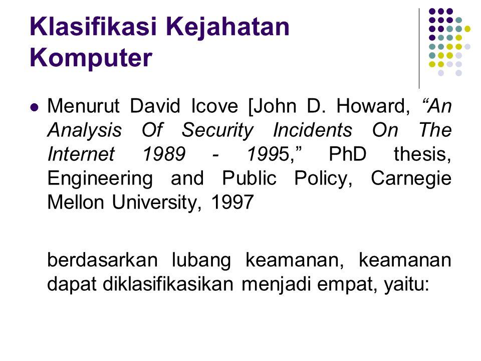 "Klasifikasi Kejahatan Komputer Menurut David Icove [John D. Howard, ""An Analysis Of Security Incidents On The Internet 1989 - 1995,"" PhD thesis, Engin"