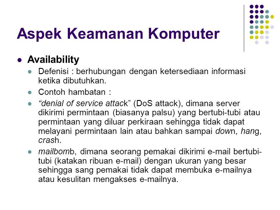 "Aspek Keamanan Komputer Availability Defenisi : berhubungan dengan ketersediaan informasi ketika dibutuhkan. Contoh hambatan : ""denial of service atta"