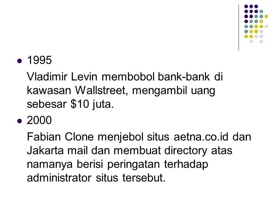 1995 Vladimir Levin membobol bank-bank di kawasan Wallstreet, mengambil uang sebesar $10 juta. 2000 Fabian Clone menjebol situs aetna.co.id dan Jakart
