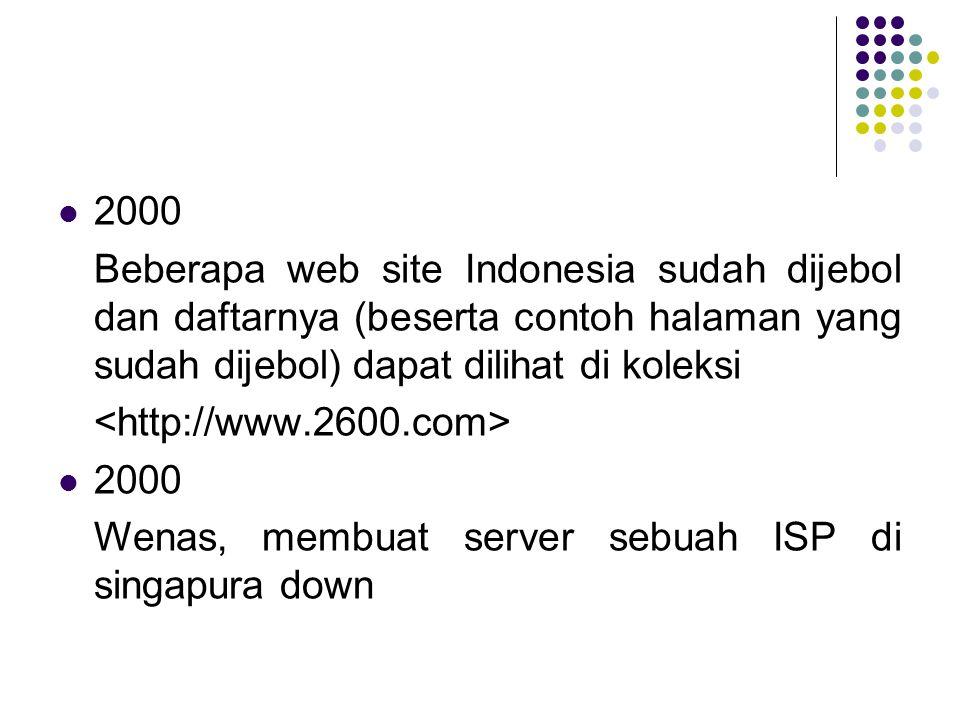 2000 Beberapa web site Indonesia sudah dijebol dan daftarnya (beserta contoh halaman yang sudah dijebol) dapat dilihat di koleksi 2000 Wenas, membuat